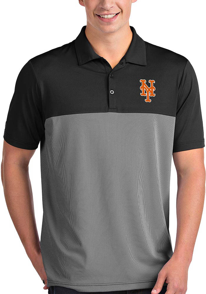 Antigua New York Mets Mens Black Venture Short Sleeve Polo - Image 1