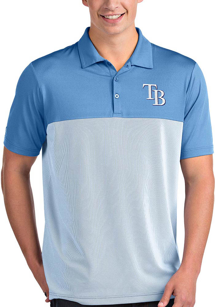 Antigua Tampa Bay Rays Mens Light Blue Venture Short Sleeve Polo - Image 1
