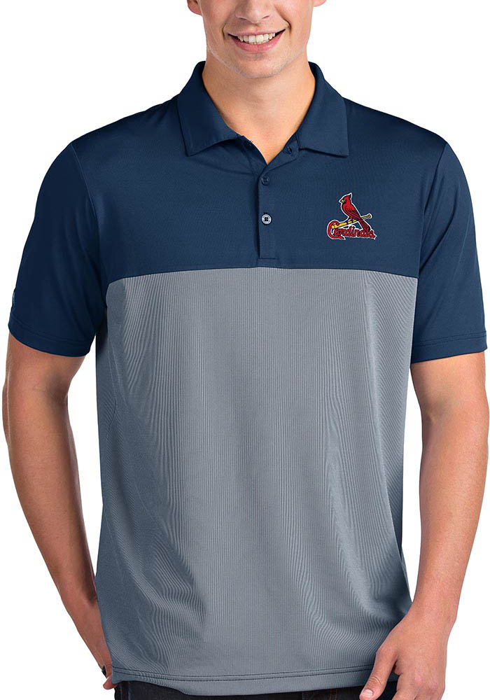 Antigua St Louis Cardinals Mens Navy Blue Venture Short Sleeve Polo - Image 1