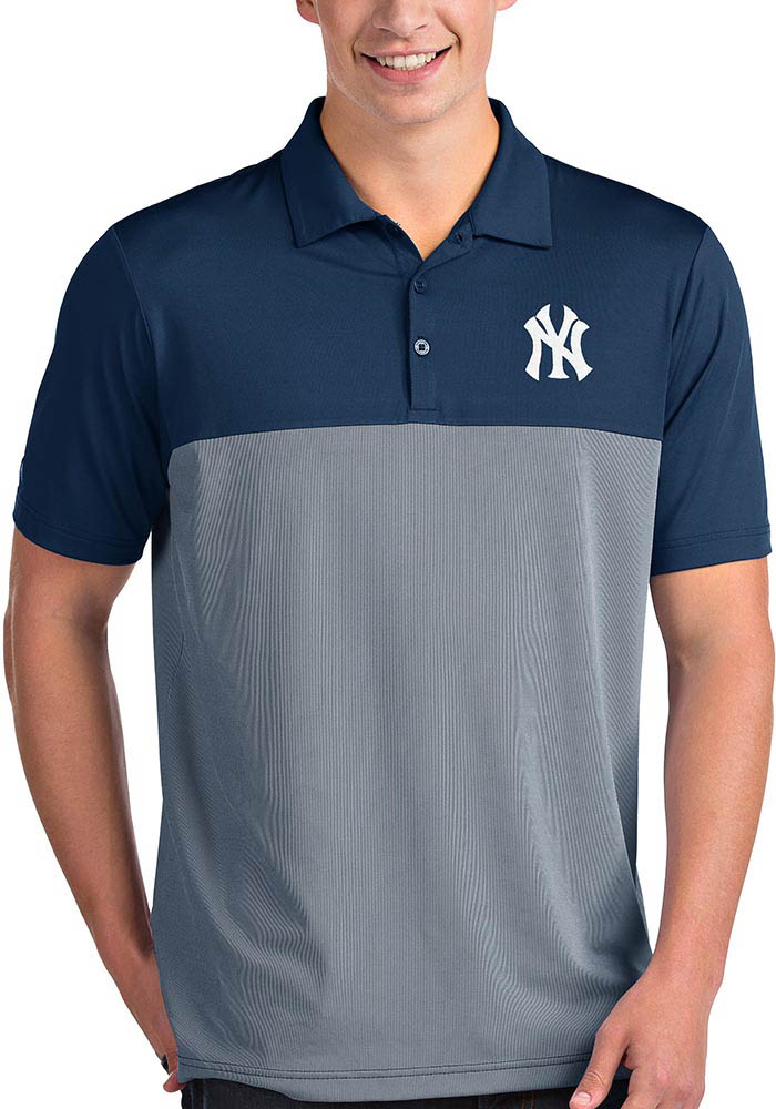 Antigua New York Yankees Mens Navy Blue Venture Short Sleeve Polo - Image 1