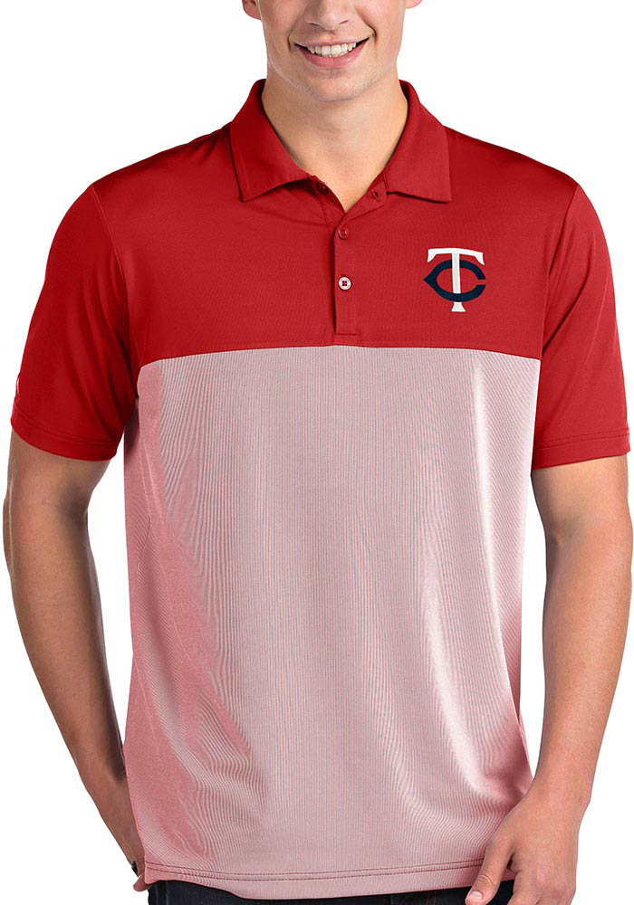 Antigua Minnesota Twins Mens Red Venture Short Sleeve Polo - Image 1