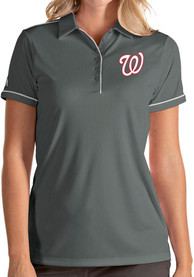 Washington Nationals Womens Antigua Salute Polo Shirt - Grey