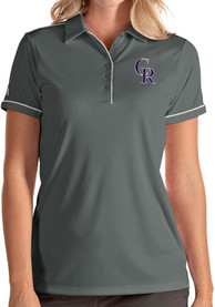 Colorado Rockies Womens Antigua Salute Polo Shirt - Grey
