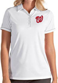 Washington Nationals Womens Antigua Salute Polo Shirt - White