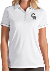 Colorado Rockies Womens Antigua Salute Polo Shirt - White