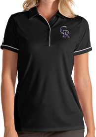 Colorado Rockies Womens Antigua Salute Polo Shirt - Black