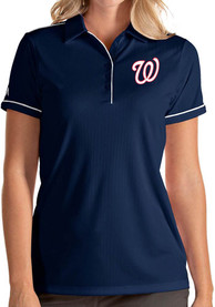 Washington Nationals Womens Antigua Salute Polo Shirt - Navy Blue