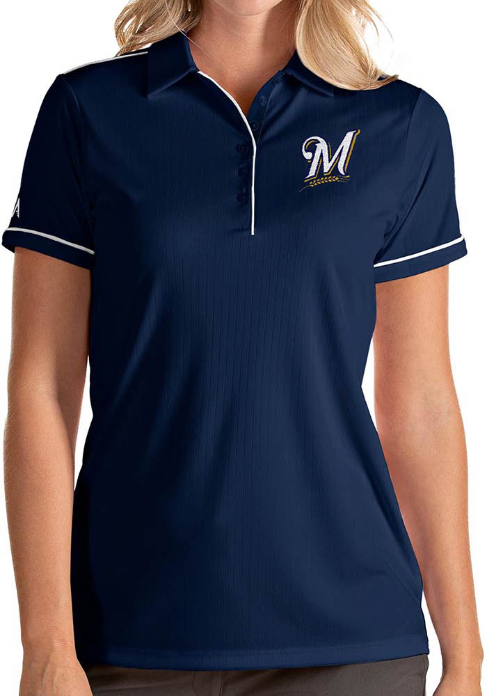 Antigua Milwaukee Brewers Womens Navy Blue Salute Short Sleeve Polo Shirt - Image 1