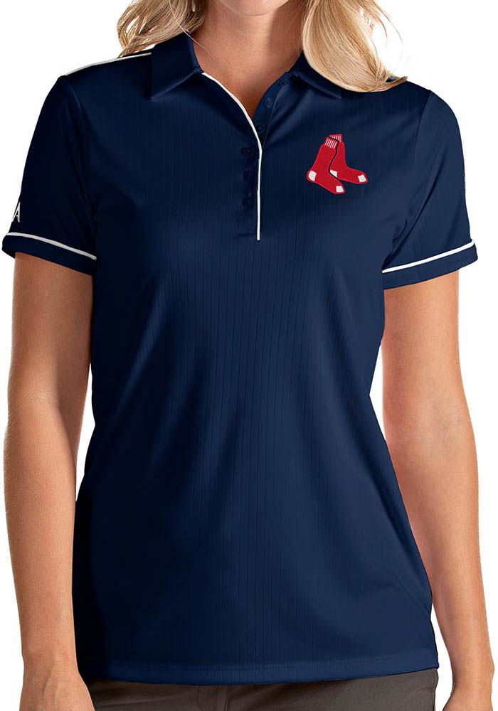 Antigua Boston Red Sox Womens Navy Blue Salute Short Sleeve Polo Shirt - Image 1