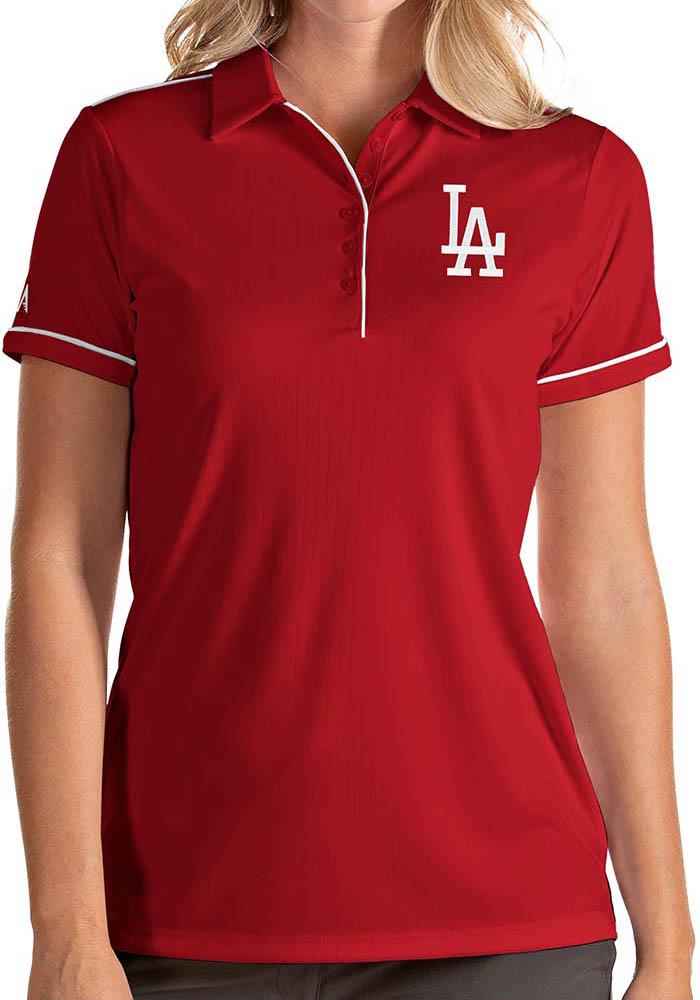 Antigua Los Angeles Dodgers Womens Red Salute Short Sleeve Polo Shirt - Image 1