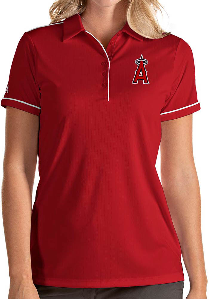 Antigua Los Angeles Angels Womens Red Salute Short Sleeve Polo Shirt - Image 1