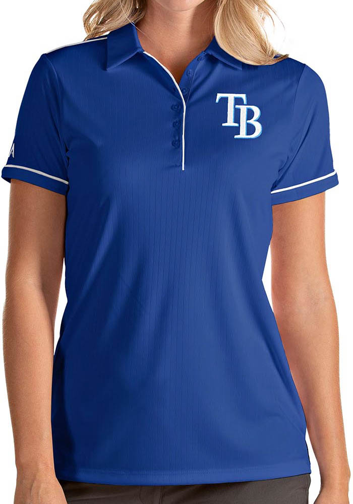 Antigua Tampa Bay Rays Womens Blue Salute Short Sleeve Polo Shirt - Image 1