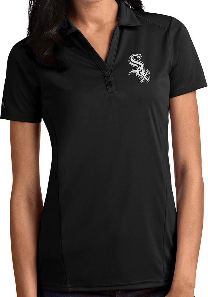 Antigua Chicago White Sox Womens Black Tribute Short Sleeve Polo Shirt - Image 1
