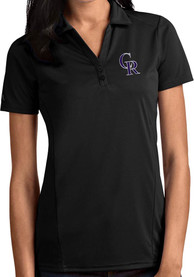 Colorado Rockies Womens Antigua Tribute Polo Shirt - Black