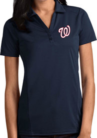Washington Nationals Womens Antigua Tribute Polo Shirt - Navy Blue