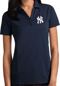 New York Yankees Womens Antigua Tribute Polo Shirt - Navy Blue