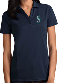 Seattle Mariners Womens Antigua Tribute Polo Shirt - Navy Blue