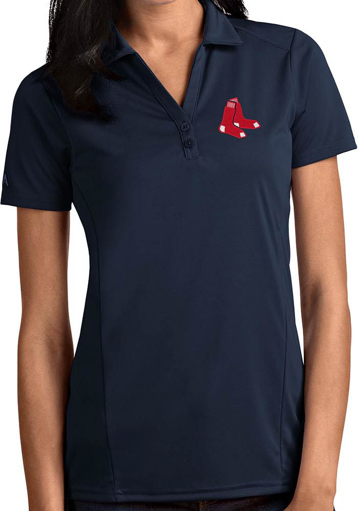 Antigua Boston Red Sox Womens Navy Blue Tribute Short Sleeve Polo Shirt - Image 1