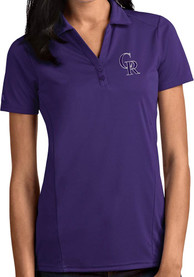 Colorado Rockies Womens Antigua Tribute Polo Shirt - Purple