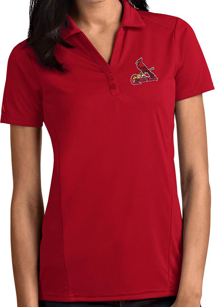 St Louis Cardinals Womens Red Tribute Short Sleeve Polo Shirt - Image 1