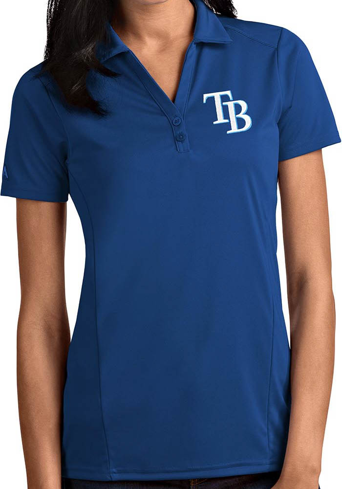 Tampa Bay Rays Womens Blue Tribute Short Sleeve Polo Shirt - Image 1