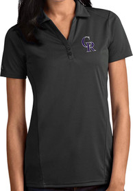 Colorado Rockies Womens Antigua Tribute Polo Shirt - Grey