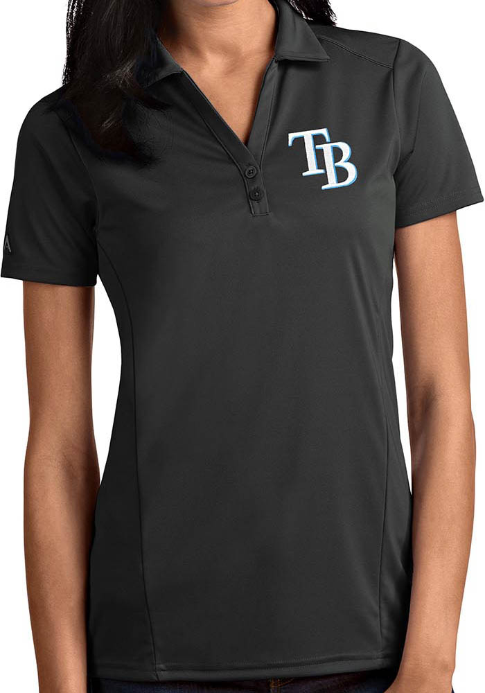 Antigua Tampa Bay Rays Womens Grey Tribute Short Sleeve Polo Shirt - Image 1