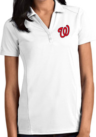 Washington Nationals Womens Antigua Tribute Polo Shirt - White
