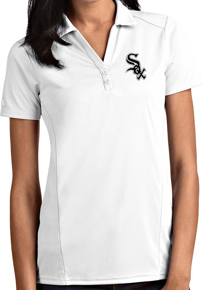 Antigua Chicago White Sox Womens White Tribute Short Sleeve Polo Shirt - Image 1