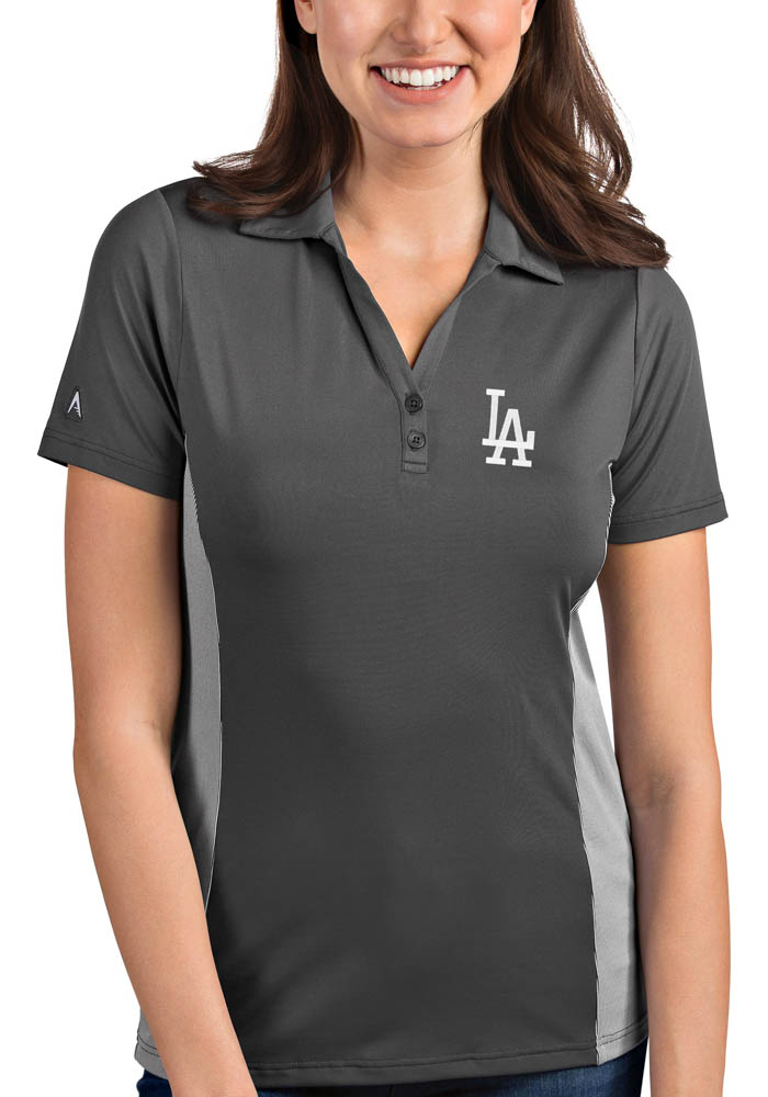 Antigua Los Angeles Dodgers Womens Grey Venture Short Sleeve Polo Shirt - Image 1