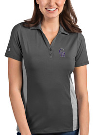Colorado Rockies Womens Antigua Venture Polo Shirt - Grey