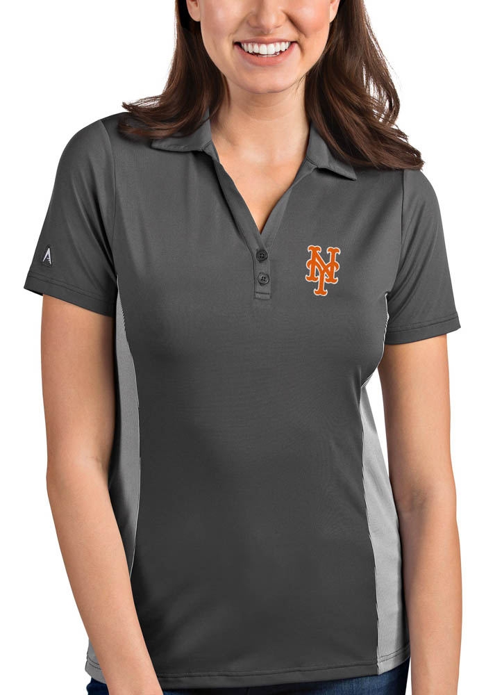 Antigua New York Mets Womens Grey Venture Short Sleeve Polo Shirt - Image 1