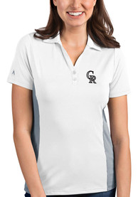 Colorado Rockies Womens Antigua Venture Polo Shirt - White
