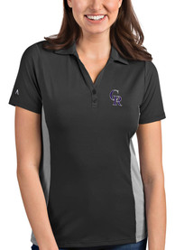 Colorado Rockies Womens Antigua Venture Polo Shirt - Black