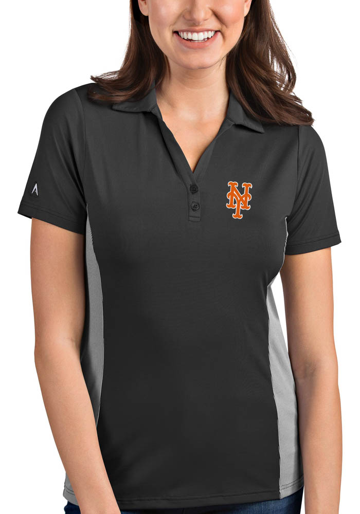 Antigua New York Mets Womens Black Venture Short Sleeve Polo Shirt - Image 1