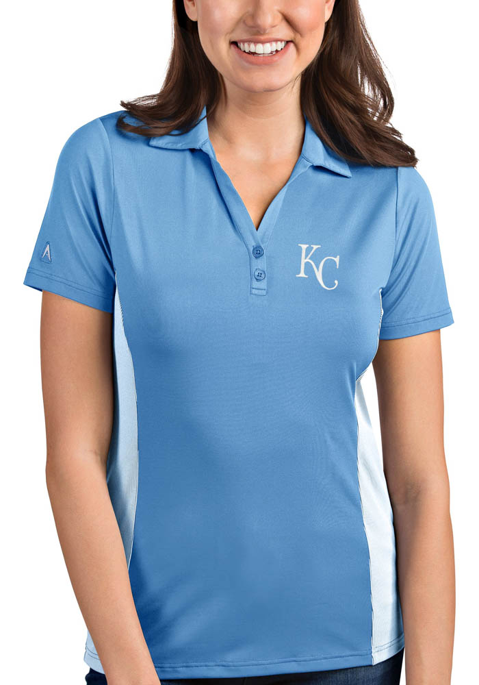 Antigua Kansas City Royals Womens Light Blue Venture Short Sleeve Polo Shirt - Image 1