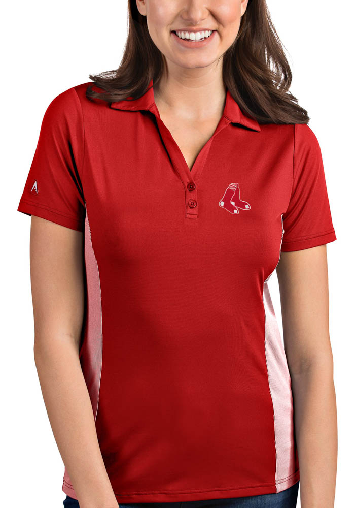 Antigua Boston Red Sox Womens Red Venture Short Sleeve Polo Shirt - Image 1