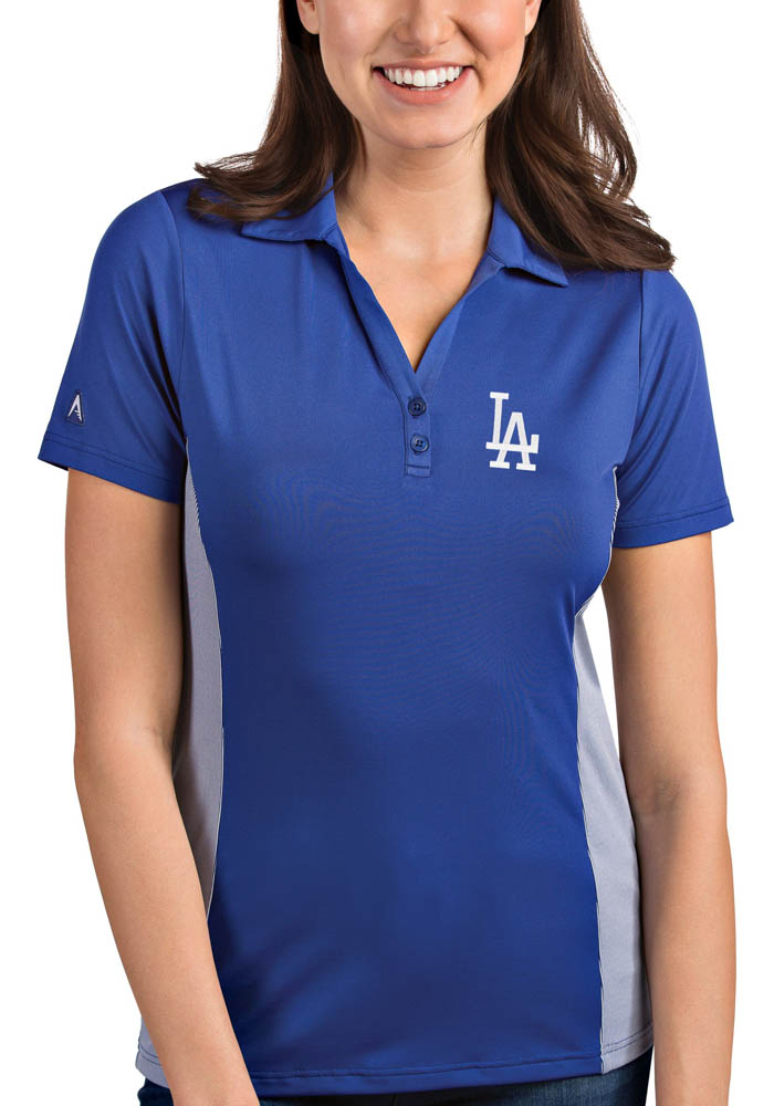 Antigua Los Angeles Dodgers Womens Blue Venture Short Sleeve Polo Shirt - Image 1