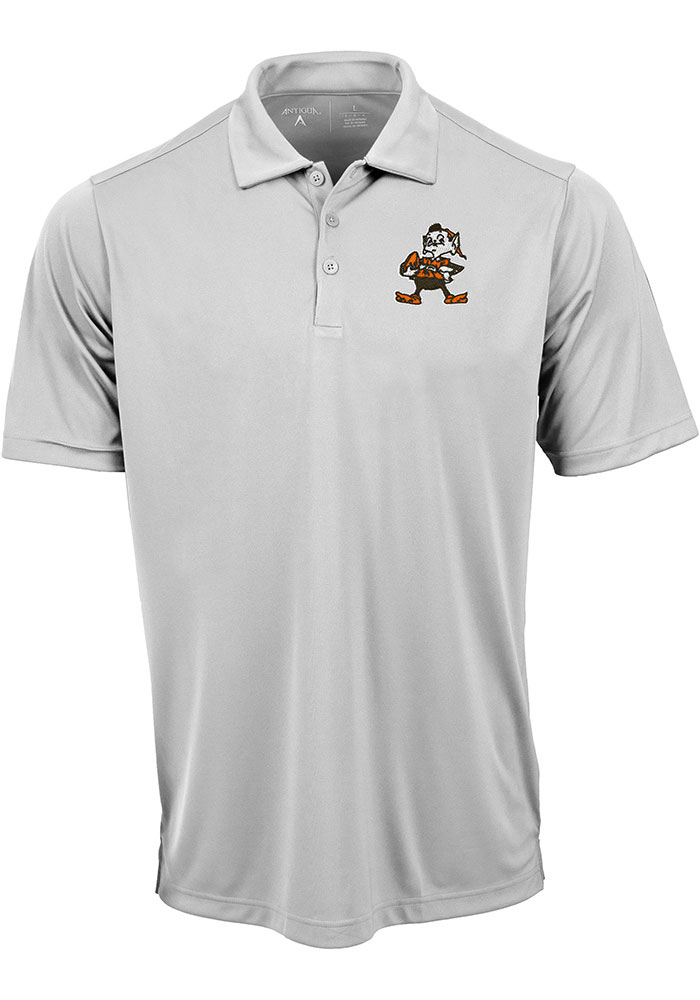 6710b934 Antigua Cleveland Browns Mens White Tribute Short Sleeve Polo - Image 1
