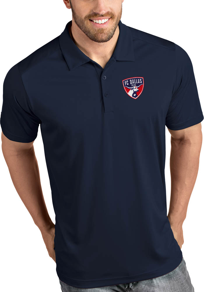 Antigua FC Dallas Mens Navy Blue Tribute Short Sleeve Polo - Image 1