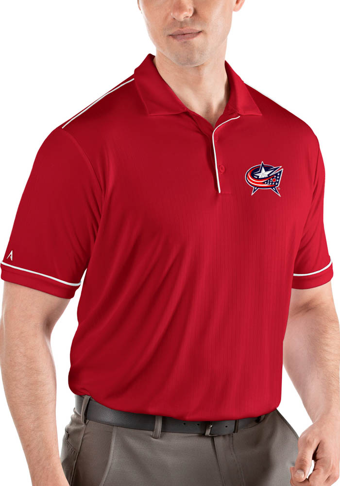 Antigua Columbus Blue Jackets Mens Red Salute Short Sleeve Polo - Image 1