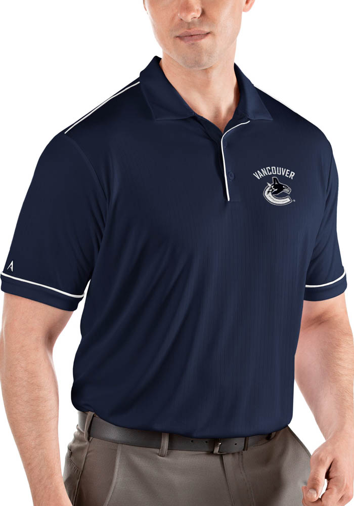 Antigua Vancouver Canucks Mens Navy Blue Salute Short Sleeve Polo - Image 1