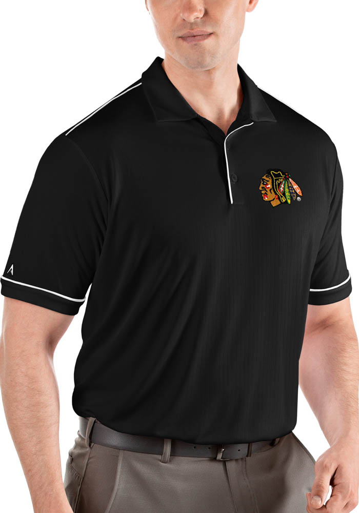 Antigua Chicago Blackhawks Mens Black Salute Short Sleeve Polo - Image 1