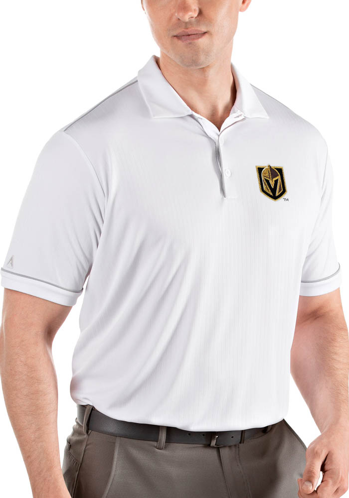 lowest price 2b241 3db00 Antigua Vegas Golden Knights Mens White Salute Short Sleeve Polo
