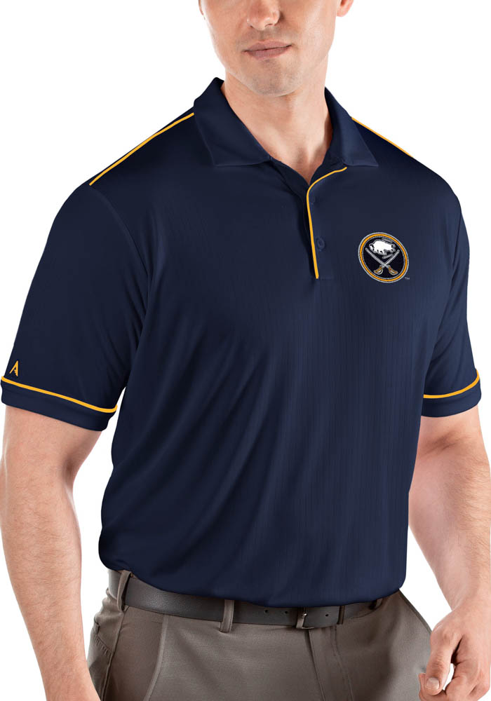 Antigua Buffalo Sabres Mens Navy Blue Salute Short Sleeve Polo - Image 1