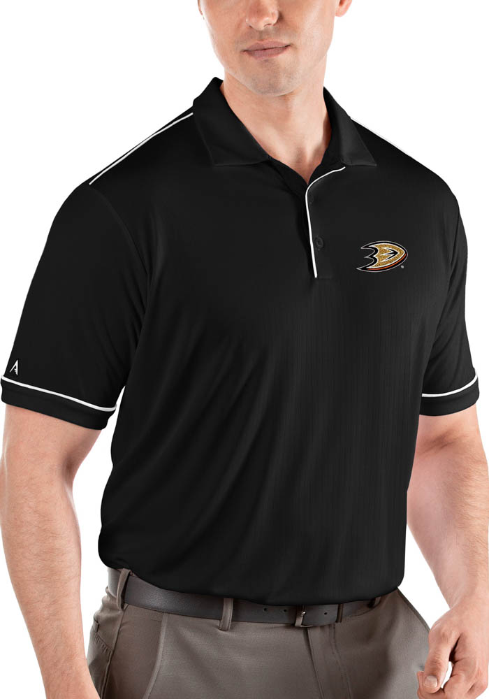 Antigua Anaheim Ducks Mens Black Salute Short Sleeve Polo - Image 1