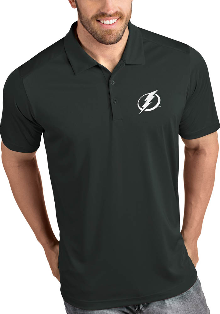 Antigua Tampa Bay Lightning Mens Grey Tribute Short Sleeve Polo - Image 1