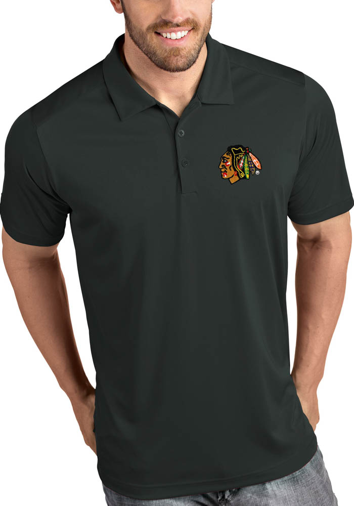 Antigua Chicago Blackhawks Mens Grey Tribute Short Sleeve Polo - Image 1