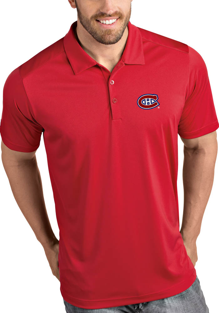 Antigua Montreal Canadiens Mens Red Tribute Short Sleeve Polo - Image 1
