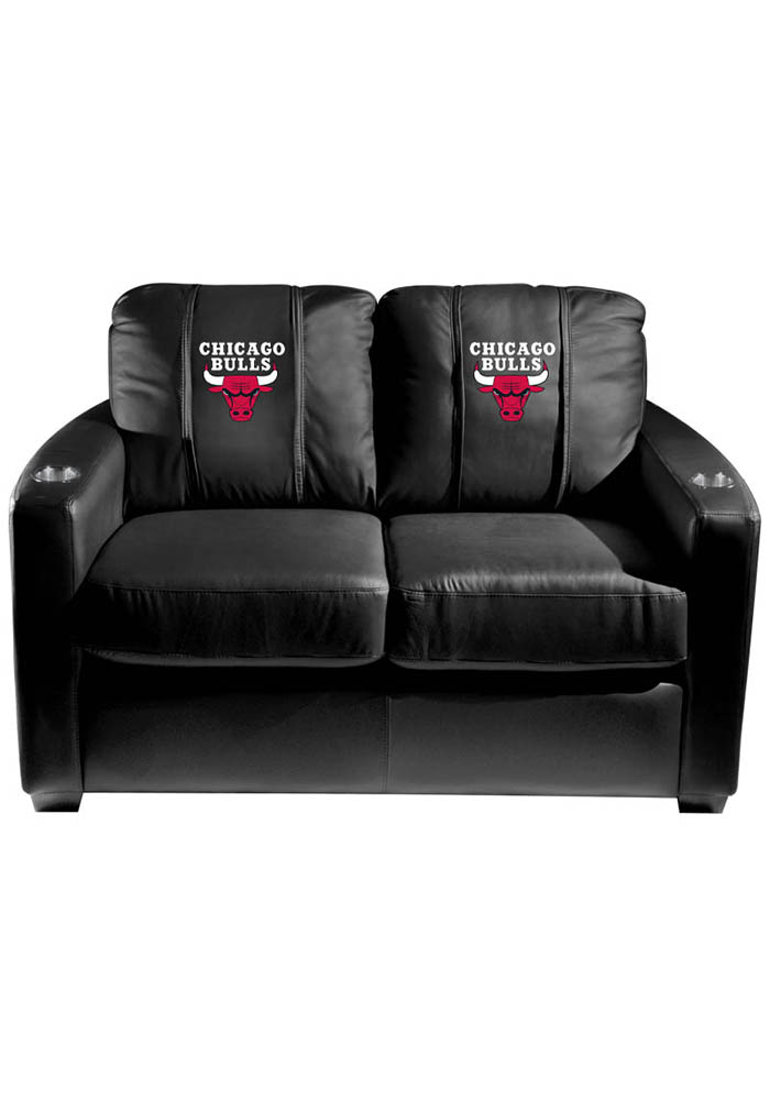 Chicago Bulls NBA Silver Loveseat Love Seat - Image 1